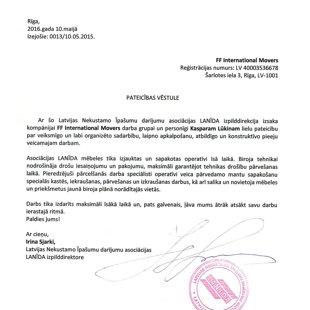 Latvijas nekustāmo īpašumu asociācija LANĪDA / FF International Movers