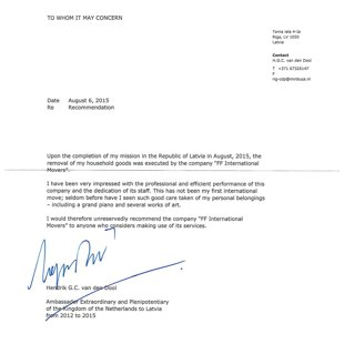 Embassy of the Kingdom of the Netherlands to Latvia / FF International Movers