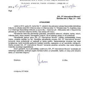Latvijas Nacionālā Bibliotēka / FF International Movers